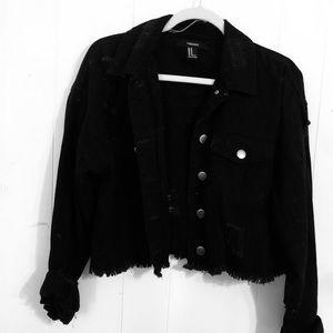 Black Jena jacket // ripped, cropped